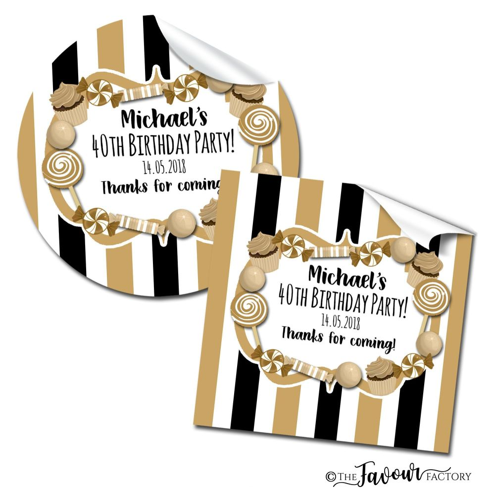 Personalised Birthday Stickers Gold Black Sweets Stripes