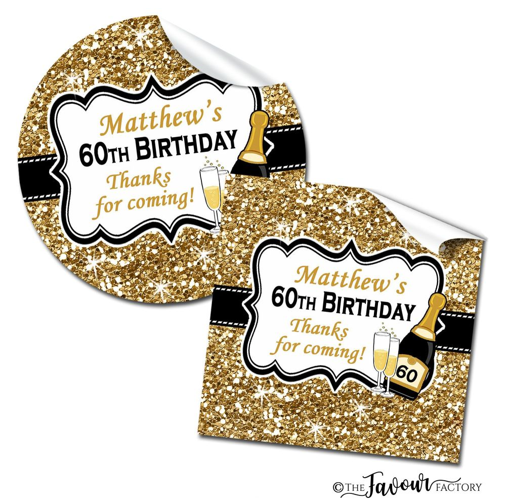 Gold Glitter Champagne Adult Birthday Party Stickers
