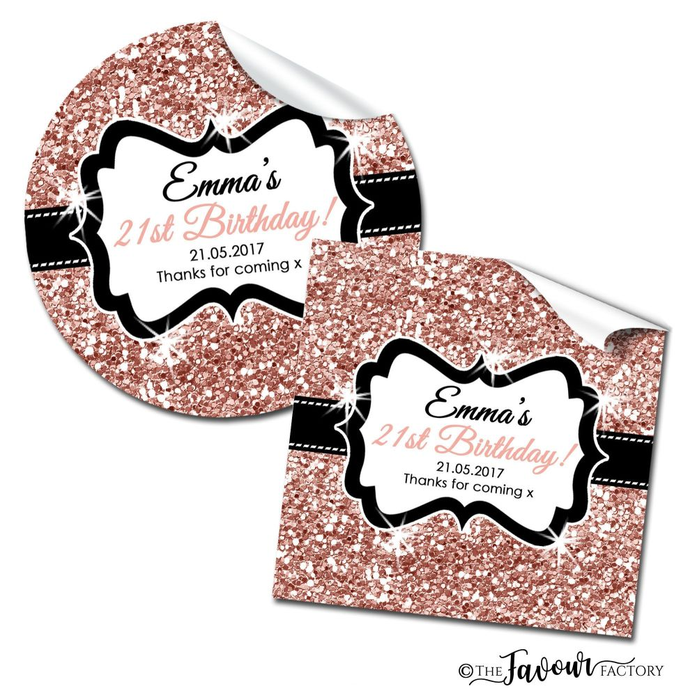 Personalised Birthday Stickers Rose Gold Glitter