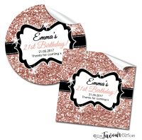 Personalised Adult Birthday Stickers Rose Gold Glitter