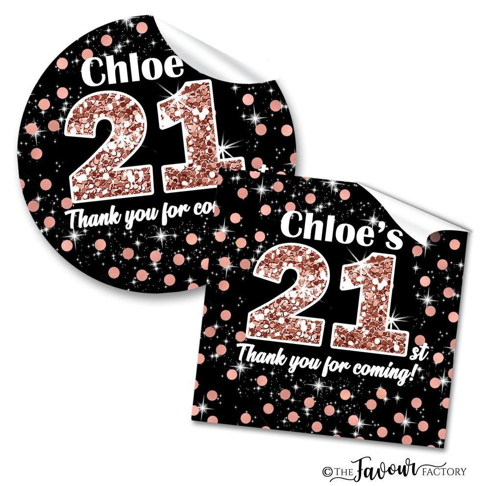 Personalised Happy Birthday Stickers Rose Gold Glitter Age