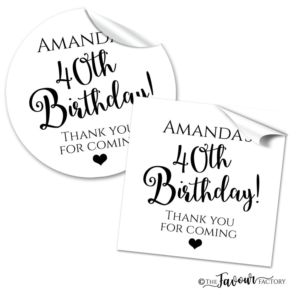 Black and White Classic Typeface Adult Birthday Stickers