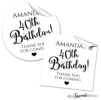 Personalised Happy Birthday Stickers Black and White Classic.