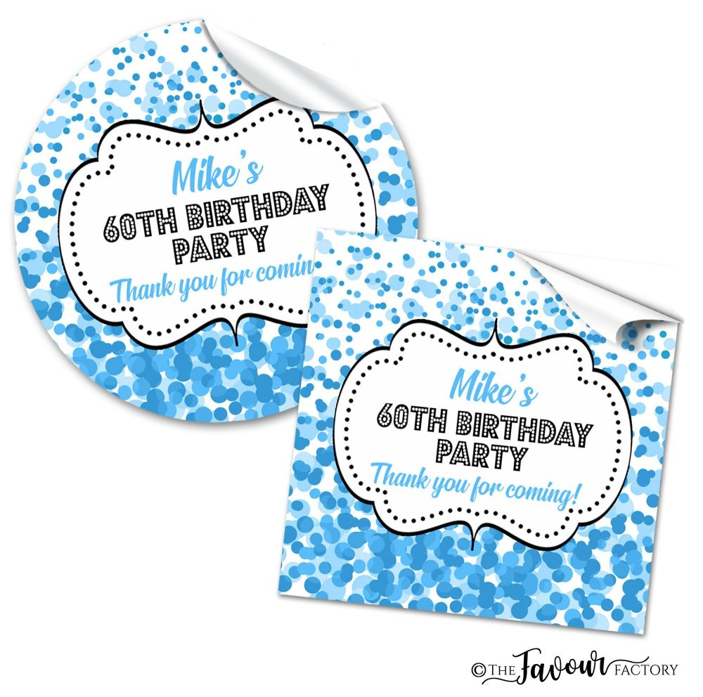 Confetti Blue Adult Birthday Party Stickers