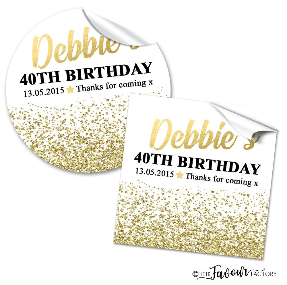 Personalised Birthday Stickers Gold Glitter confetti