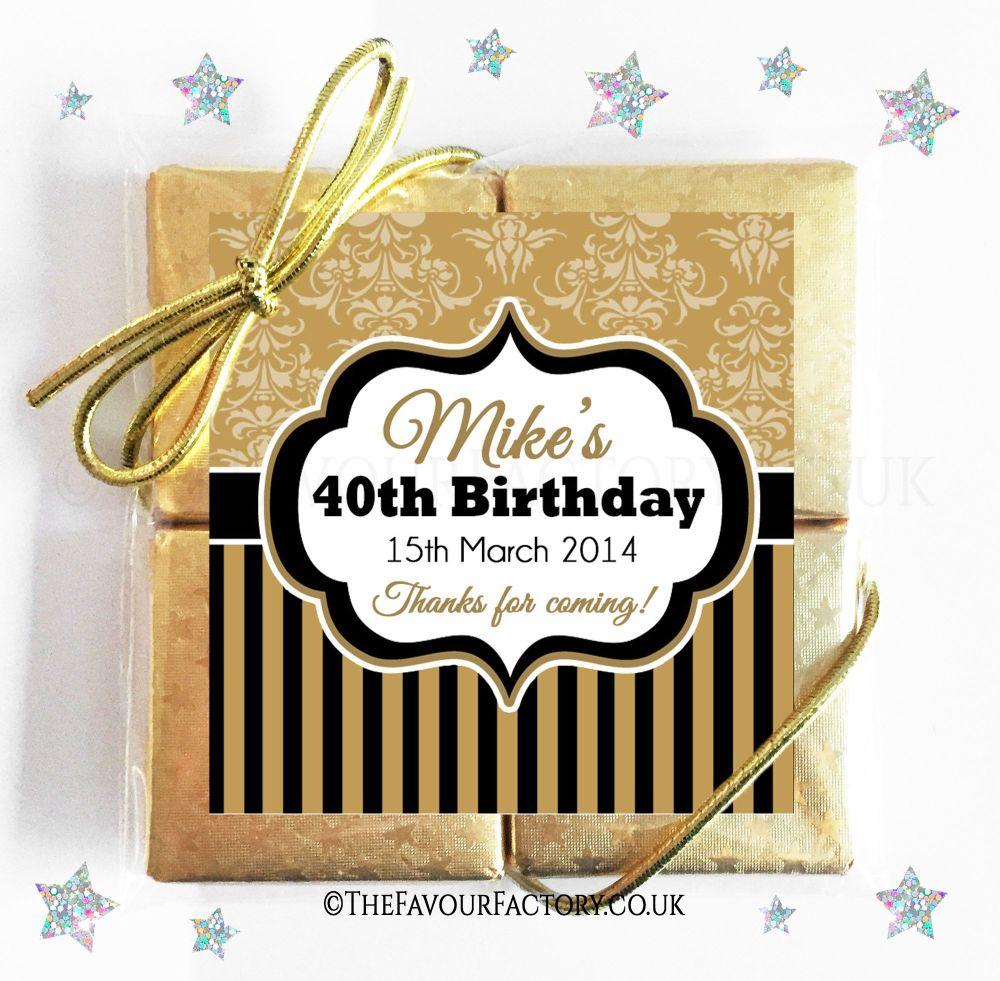 Birthday Chocolates Quads Damask Stripes x1