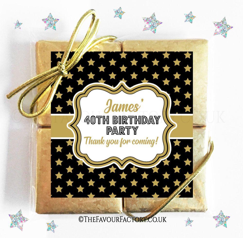Birthday Chocolates Quads Gold Stars x1