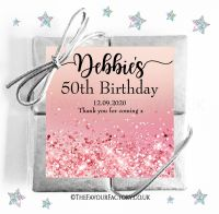 Birthday Party Chocolate Quads Rose Pink Glitter Sparkles x1