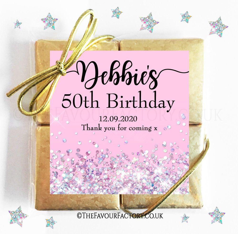 Birthday Party Chocolate Quads Pink Glitter Sparkles x1