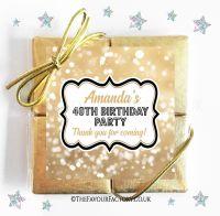 Birthday Chocolates Quads Gold Bokeh x1