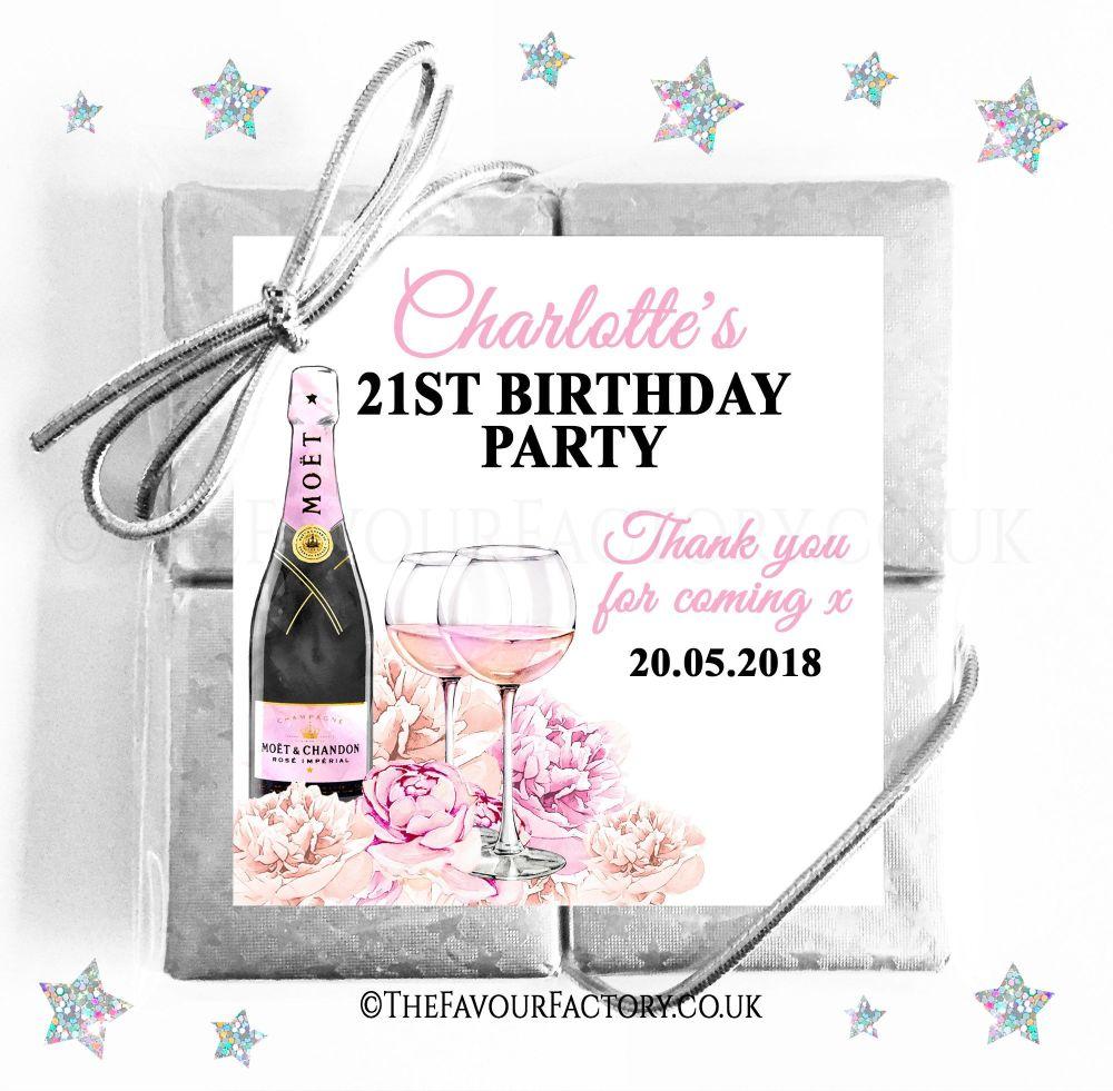 Birthday Chocolates Quads Champagne and Flowers x1