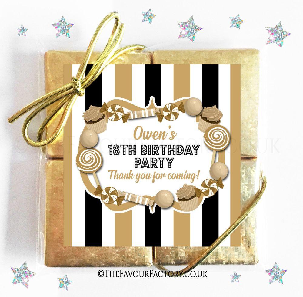 Birthday Chocolates Quads Black and Gold Candy Sweets x1