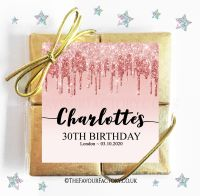 Birthday Party Chocolate Quads Rose Gold Dripping Glitter x1