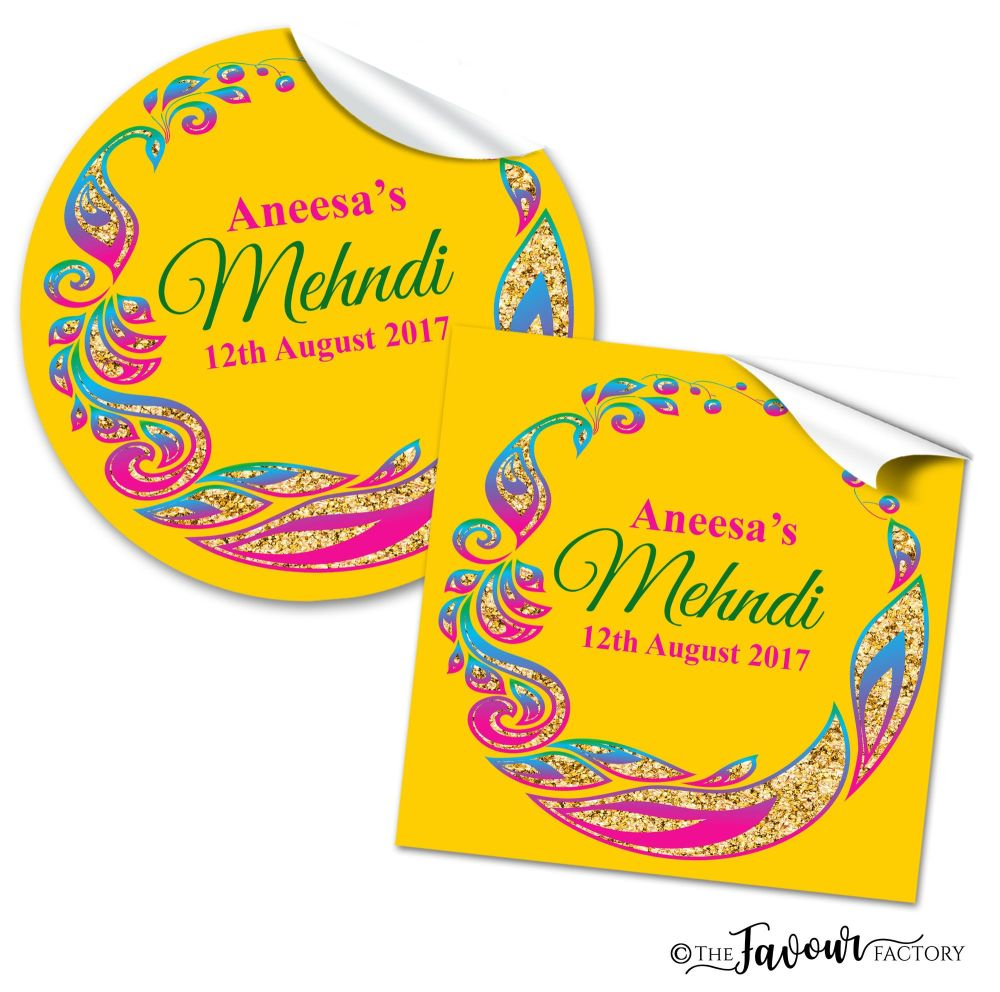 Mehndi Wedding Stickers - Peacock Tail Frame