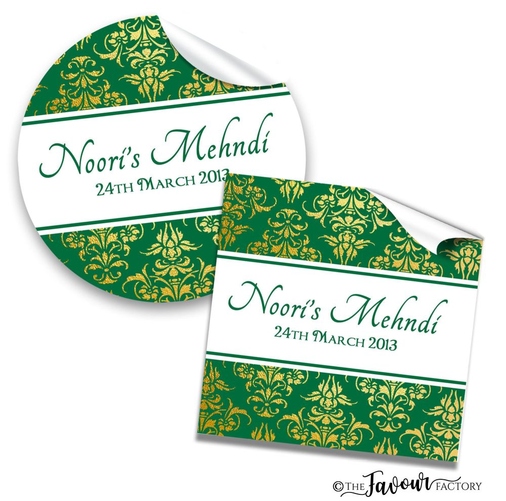Mehndi Wedding Stickers - Hunter Green Gold Damask