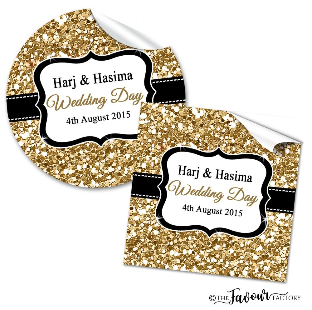 Mehndi Wedding Stickers - Gold Glitter