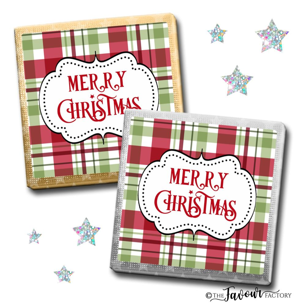 Merry Christmas Chocolates Traditional Plaid x10