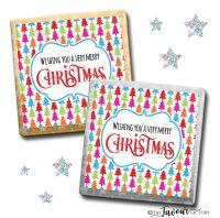 Merry Christmas Chocolates Bright Trees x10