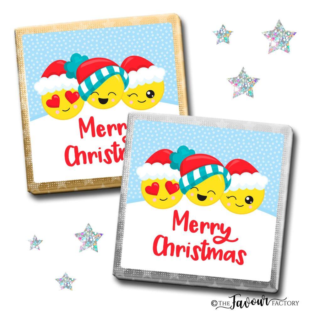 Merry Christmas Chocolates Emoji Faces x10