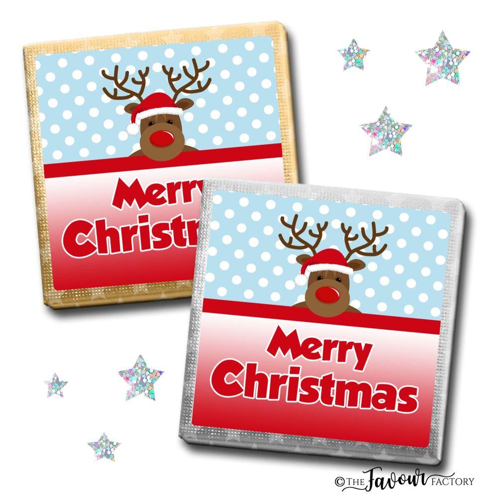 Merry Christmas Chocolates Rudolph Santa Hat x10