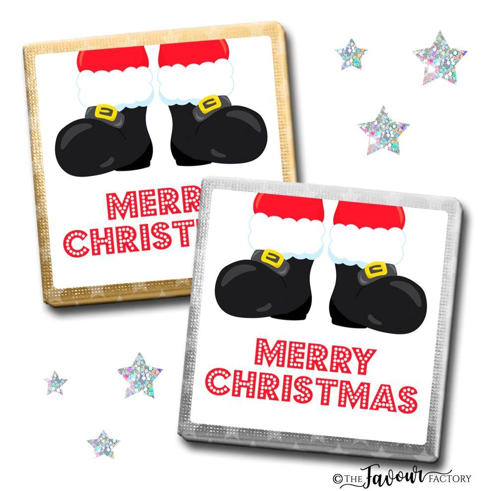 Merry Christmas Chocolates Rudolph Santa Boots x10