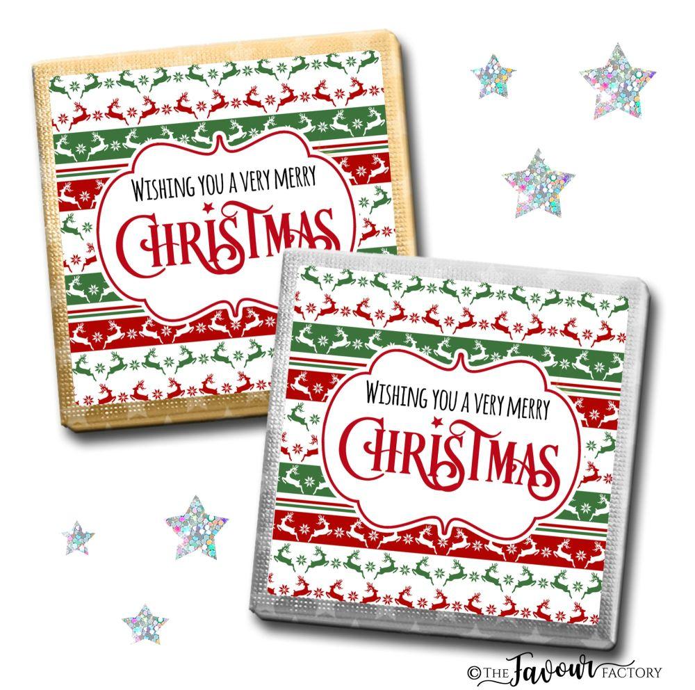 Merry Christmas Chocolates Prancing Reindeer x10