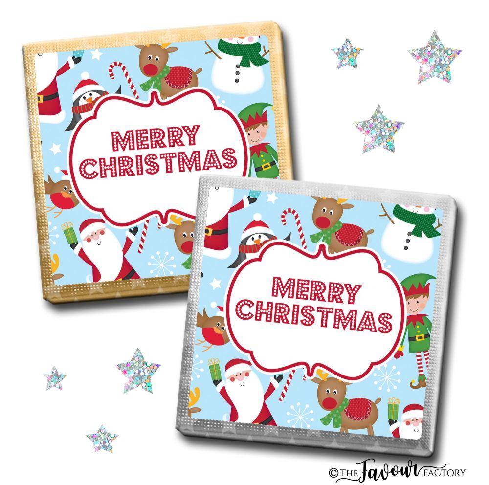 Merry Christmas Chocolates Santa Friends x10