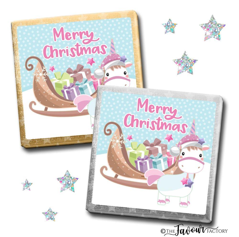 Merry Christmas Chocolates Unicorn x10