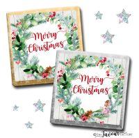 Merry Christmas Chocolates Pinecone Berry Wreath x10
