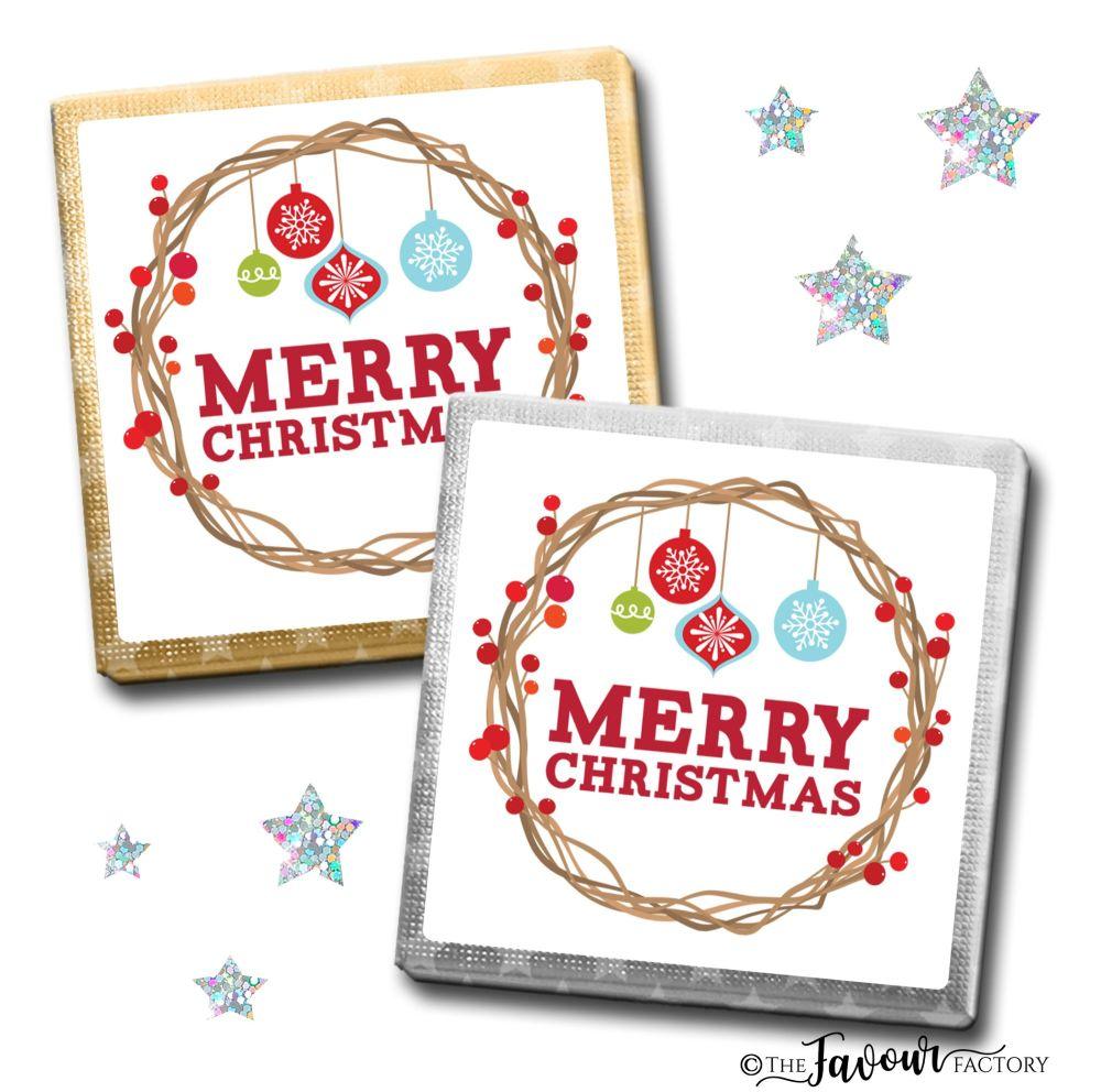 Merry Christmas Chocolates Berry Branch Wreath x10