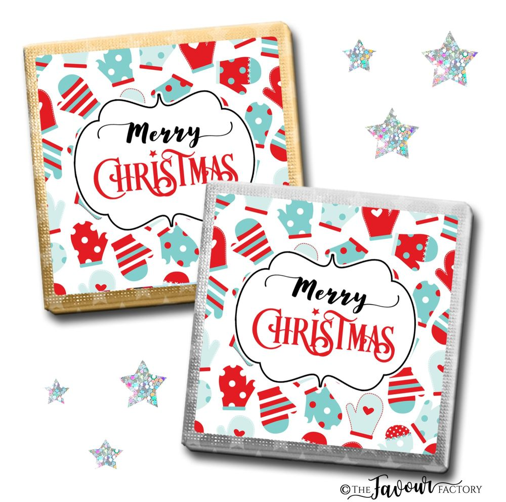 Merry Christmas Chocolates Mittens x10
