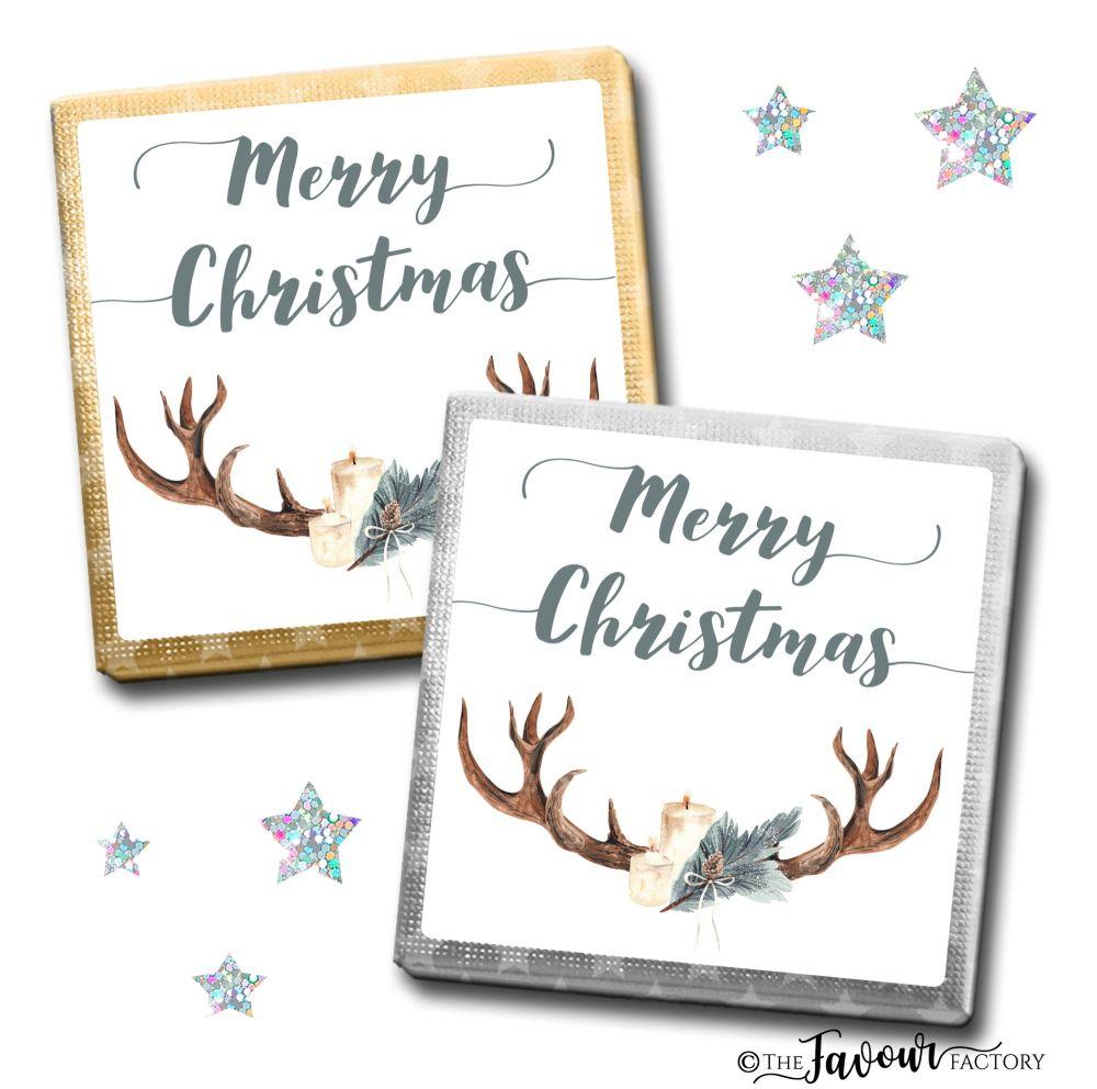 Merry Christmas Chocolates Candle Antlers x10