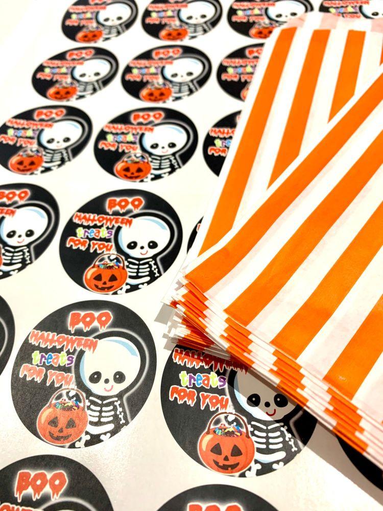Halloween Orange Stripe Treat Bags And Stickers Skeleton x1