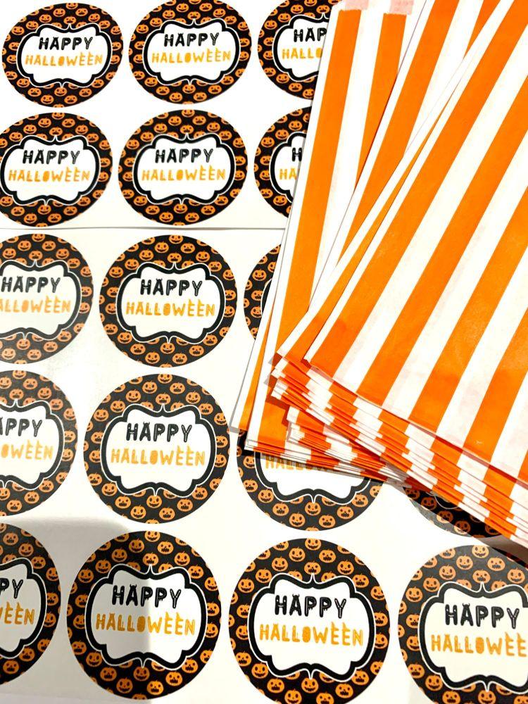 Halloween Orange Stripe Treat Bags And Stickers Pumpkin Faces x1