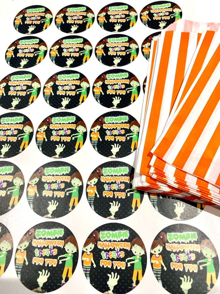 Halloween Orange Stripe Treat Bags And Stickers Zombies
