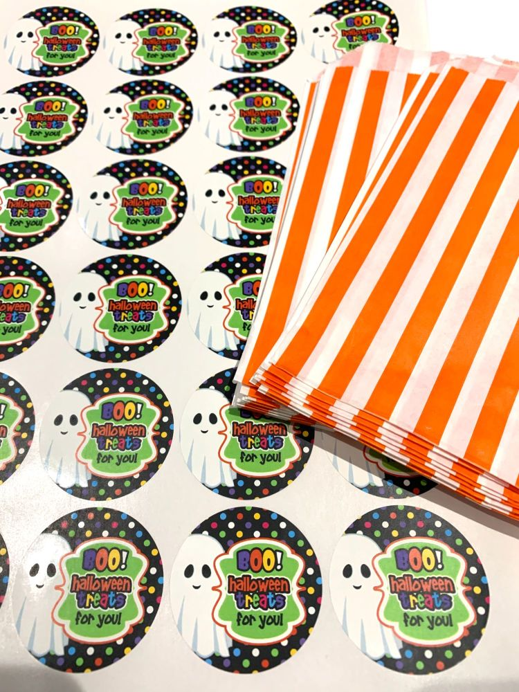 Halloween Orange Stripe Treat Bags And Stickers Boo Ghost x1