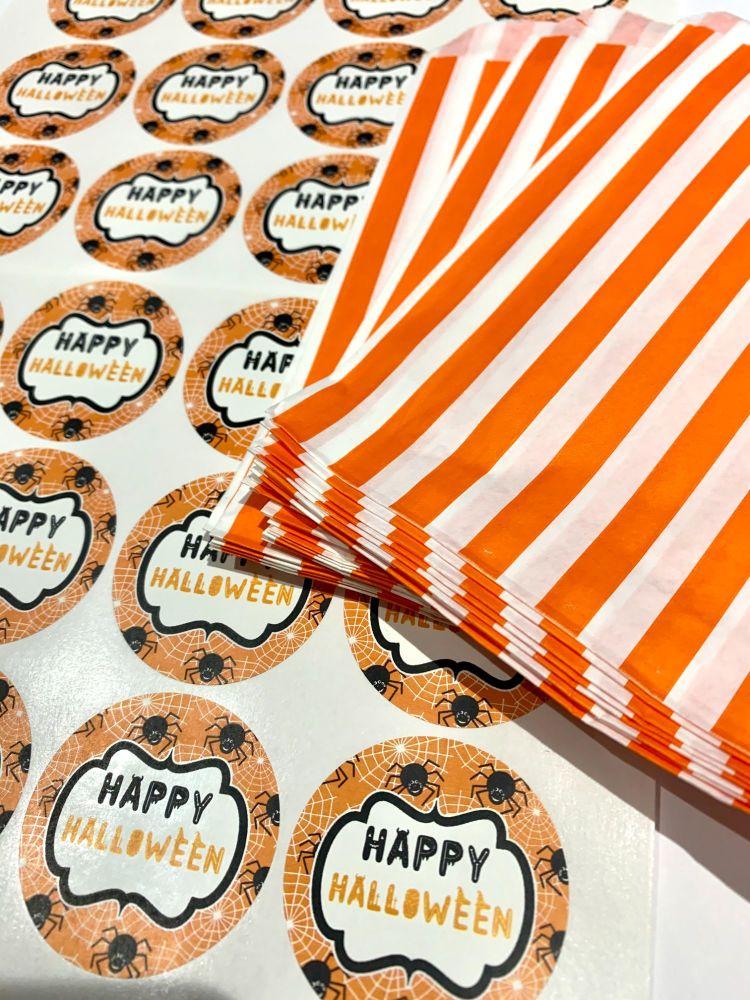 Halloween Orange Stripe Treat Bags And Stickers Spiders x1