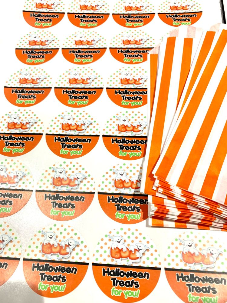 Halloween Orange Stripe Treat Bags And Stickers 2 Ghosts x1