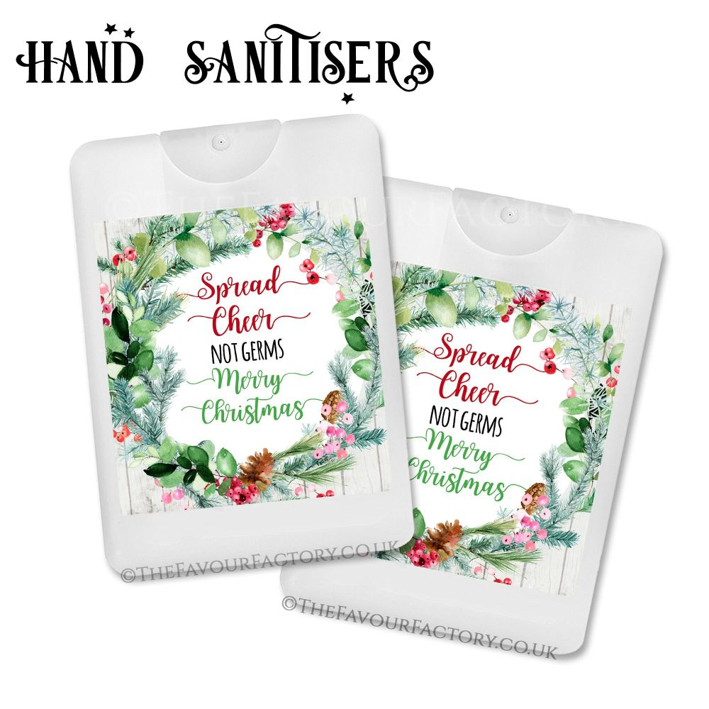 Spread Cheer Not Germs Christmas Hand Sanitiser Pine Cone Wreath x1