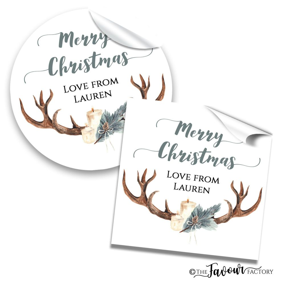 Personalised Christmas Stickers Antler & Candles