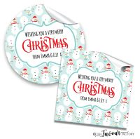 Personalised Christmas Stickers Cosy Snowmen