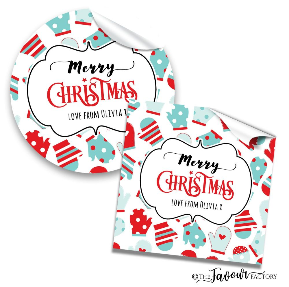 Personalised Christmas Stickers Lots Of Mittens