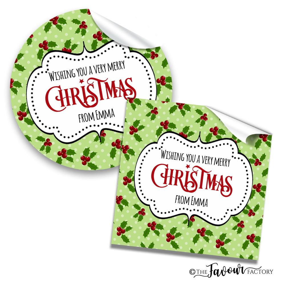 Christmas Stickers Polka Dot Holly