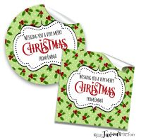 Personalised Christmas Stickers Polka Dot Holly
