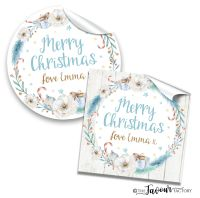 Personalised Christmas Stickers Floral Wreath