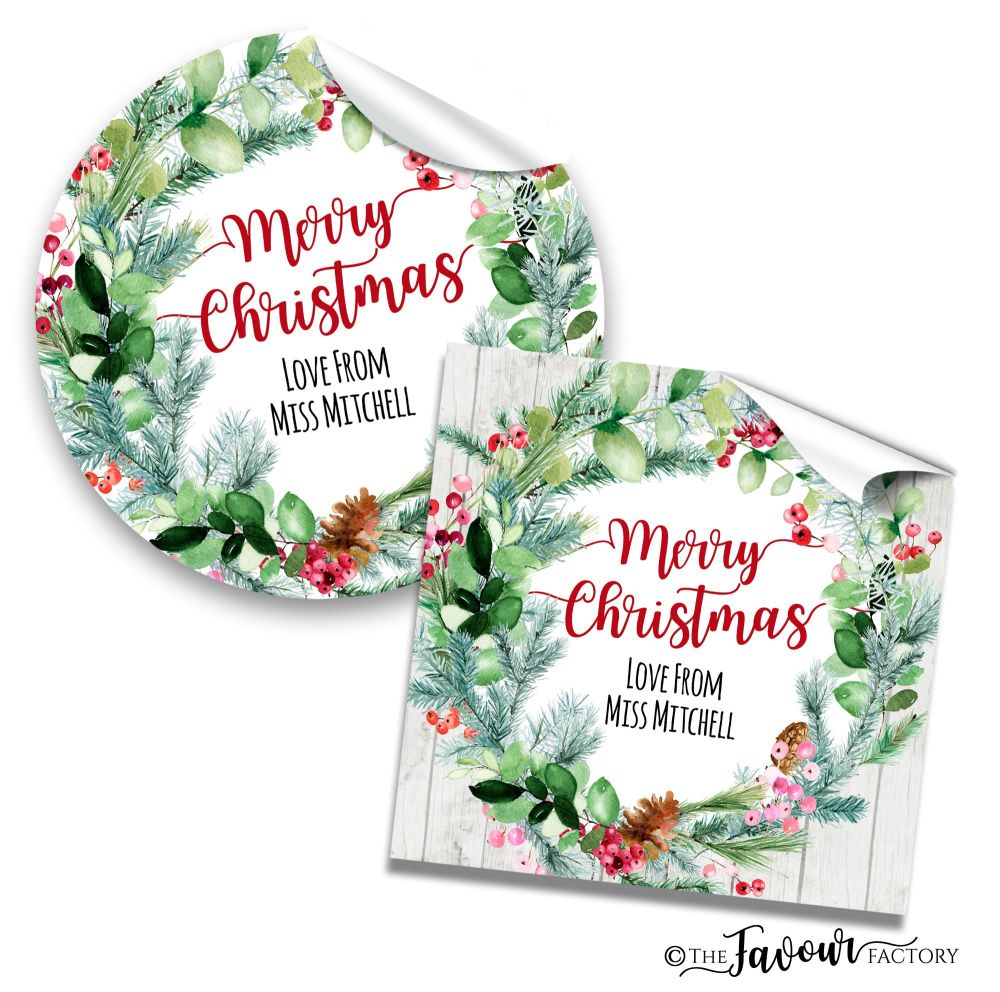 Christmas Stickers Pinecone Berry Wreath