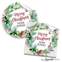 Personalised Christmas Stickers Pinecone Berry Wreath