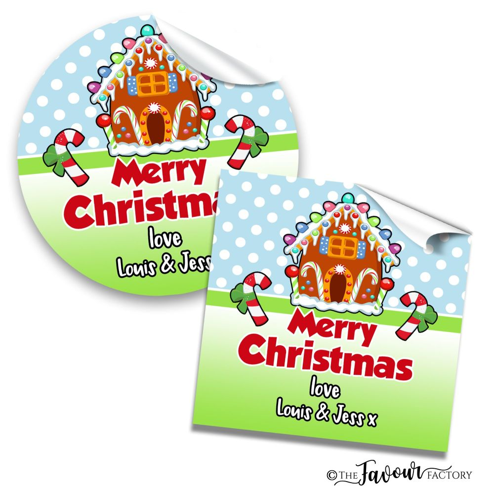 Personalised Christmas Stickers Gingerbread House