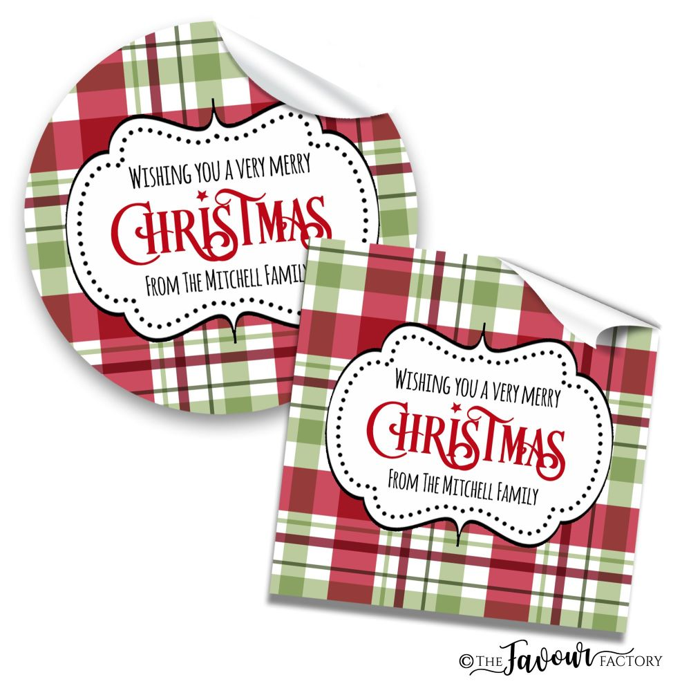 Personalised Christmas Stickers Traditional Plaid