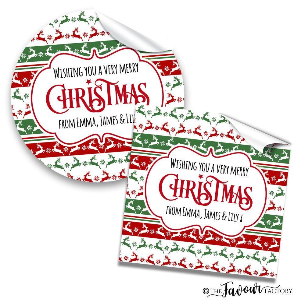 Personalised Christmas Stickers Prancing Reindeer